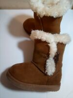 Brown Boots Toddler Girls Sz 7 Suede And Fur Look