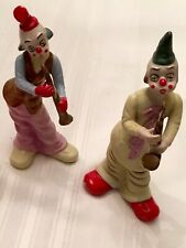 """Set Of 2 COLLECTIBLE Musical Ceramic Clown Figurines Playing Sax & Clarinet 9"""" H"""