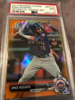 2017 Bowman Chrome Amed Rosario NY Mets Prospects Orange Ref PSA 9 MINT💎POP 1