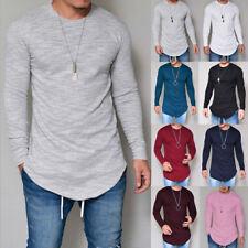 UK Men Plain Long sleeve T-Shirt Cotton Longline Extended Irregular Basic Shirt