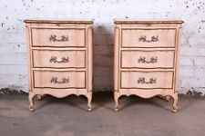 French Provincial Louis XV Style Three-Drawer Nightstands by Dixon Powdermaker