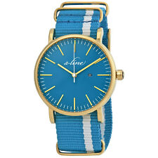 A_Line Blue Dial Blue and White Fabric Ladies Watch 50593-YG-TURS