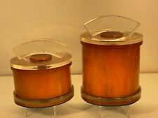 Catalin 1930's 2 Round Butterscotch Jewelry boxes with lids excellent condition