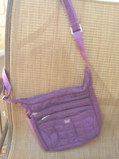 "LUG ""Flutter"" Crossbody Bag Multiple Zip Pockets Purple Quilted Nylon Lined"