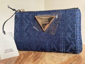 RIVER ISLAND Blue RI jacquard mini zip card holder pouch purse NEW WITH TAGS
