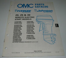 OMC Parts Catalog Evinrude Johnson 20 25 30 Remote Electric Start Models 04/1989