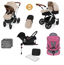 Ickle Bubba Stomp V3 Isofix Travel System Sand on Silver & 2nd Stage Car Seat