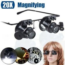 20X Glasses Type Binocular Magnifier Watch Repair Tool with Two LED Lights US 2H