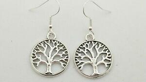 New Silver Tree Of Life Charm Drop/Dangle Earrings Kitsch Novelty Retro