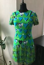 BNWT Versace for H&M Green Heart Fringe Silk Dress  - EUR 38 / UK 12