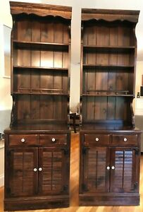 Antique Ethan Allen Old Tavern Bookcases & Cabinets (Set of 2)