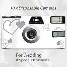 10 x Disposable Camera - flash 27exp wedding silver hearts white table cards