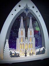 3D LED Lichterbogen Plexiglas Schwibbogen mit Holz Kölner Dom  52 x 53 cm 10669