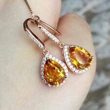 Womens 2.5Ct Pear Citrine & Sim Diamond Drop & Dangle Earring 14k Yellow Gold FN