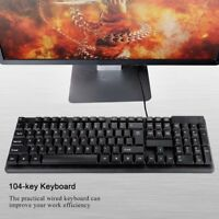 USB Wired Silent Mechanical Feel Gaming Keyboard For Notebook Laptop PC Computer
