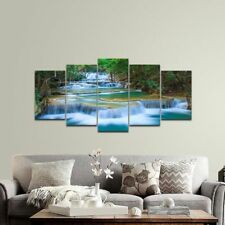 Big Ready to Hang 5 Piece Modern Art Painting Canvas Green Wall Framed Waterfall
