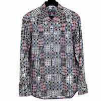 Robert Graham Mens Flip Cuff Button Up Shirt Geometric Patchwork Multicolor Sz L