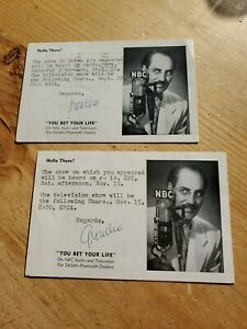 """Groucho Marx Signed """"You Bet Your Life"""" Postcards"""