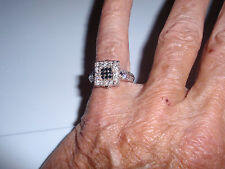 "Park Lane Jewelry ""PARK AVENUE"" Ring, S-9, Jet & Clear CZ's, Silvertone, New!!"