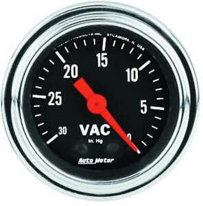 "AUT2484 Autometer 2484 Traditional Chrome Vacuum Gauge, 2-1/16"", 30"" Hg,"