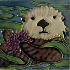 Otter with Sea Urchin  Decorative Ceramic Wall Art Tile 4x4