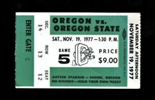 >orig. 1977 OREGON DUCKS vs OSU Beavers *Football Ticket Stub* @ Autzen Stadium
