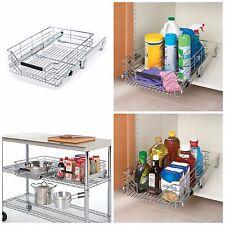 Sliding Metal Organizer Storage Shelf & Cabinet Drawer Pull Out Wire Basket Bin