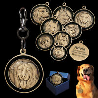 3D Pictures Personalised Dog Tags Cat Puppy Pet Custom Bronze Name ID Collar Tag