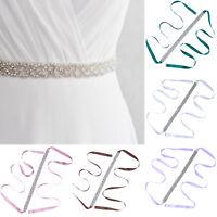 Bridal Wedding Bridesmaid Dress Sash Crystal Rhinestone Ribbon Waist Belt