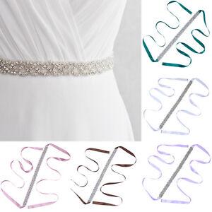 Bridal Wedding Belt Bridesmaid Dress Sash Crystal Rhinestone Ribbon Waist Belt