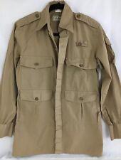 LL Bean Safari Khaki Field Shirt Men's Sm Long Sleeve 4 Pockets