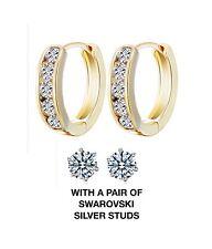 14K Yellow Gold Huggie Hoop Earrings Clear 1 Row Cubic Zirconia