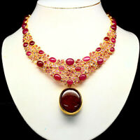 "REAL RED RUBY RHODOLITE GARNET TWO DESING PENDANT NECKLACE 4.5""X8.5"" 925 SILVER"