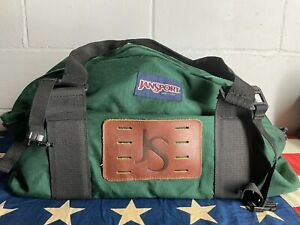 Large Vintage 90s Jansport Duffle Bag Leather Patch Hiking Forest Green Big USA