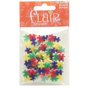 """Puzzle Pieces Blumenthal Lansing Flair Originals Buttons 18 Buttons Per Pkg 1"""""""