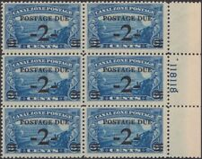 Canal Zone - 1930 - 2 Cents on 5 Cents Surcharged Postage Due #J22 Plate Block