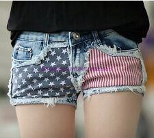Hot Girl Women American Flag Mini Vintage Denim Jeans Shorts Pants Trousers Mid