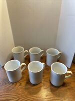 Set of 6 Crate & Barrel Staccato Kathleen Wills White Dotted Rim Mugs /Cups