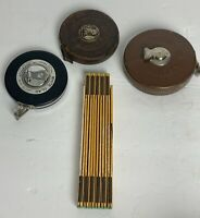 Lot Of Vintage Tape Measures Dietzgen Lufkin & Folding Stanley Measuring Stick