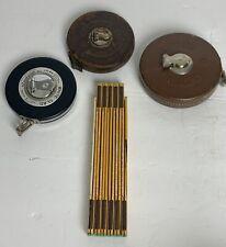 Lot Of Vintage Tape Measures Dietzgen Lufkin & Folding Stanley Measuring Stick