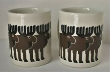 Pair of Taylor & Ng MOOSE HERD Coffee Mugs Cups MINIMALS by WIN NG 1980's Cabin
