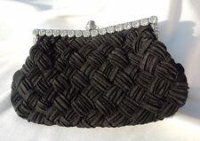 Women's Woven Silk Evening Bag Clutch Handbag Shoulder Tote Purse Black