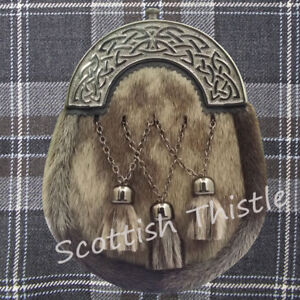 Men's Scottish Highland Leather Full Dress Kilt Sporran Seal Skin Celtic Cantle