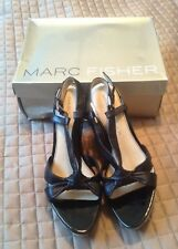 Marc Fisher Size 10 MChaban Black Leather Open Toe Wedges New Womens Shoes