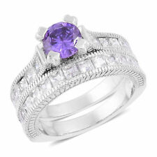 AAA Simulated Purple Sapphire and Simulated Diamond 2 Ring Set in Silver Plated