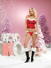 Leg Avenue 2 pc Sequin and Fur Trimmed Bustier with Belt and G string New WT MED