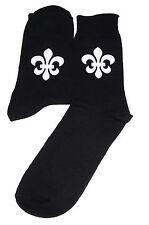 White Fleur De Lis Socks, Great Novelty Gift
