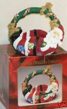 BRAND NEW & BOXED/CURLY SANTA CLAUS-LARGE CERAMIC BASKET/CHRISTMAS TREASURE