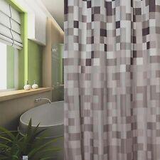 Cortina de ducha tela 240x180 CUADROS GRIS BLANCO Negro Marrón 240 x 180 +