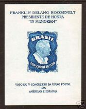 Brazil Mi Bl 10y Mnh. 1949 3.80r Fdr Memorial S/S, wmkd